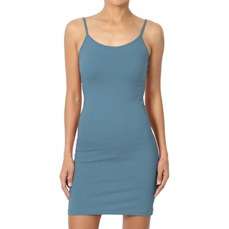 TheMogan Junior's Strappy Stretch Bodycon Slip Mini Dress Sleeveless Long Cami