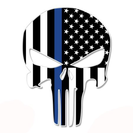 Gifted Line Stickers - Punisher Skull Thin Blue Line Flag - Vinyl Sticker Waterproof Decal Sticker 5