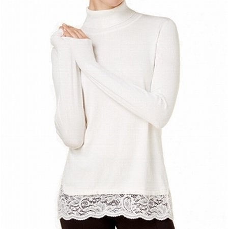 Cable Gauge Sweaters (Cable & Gauge Womens Medium Lace Hem Turtleneck Sweater)