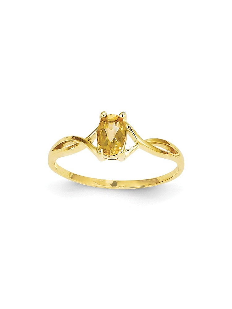 14K Yellow Gold Citrine Birth Month Ring Size-7 by