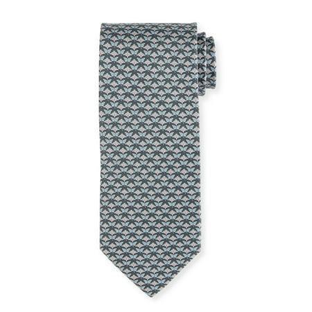 Butterfly Silk Tie - Salvatore Ferragamo Gray Butterfly Silk Skinny Neck Tie