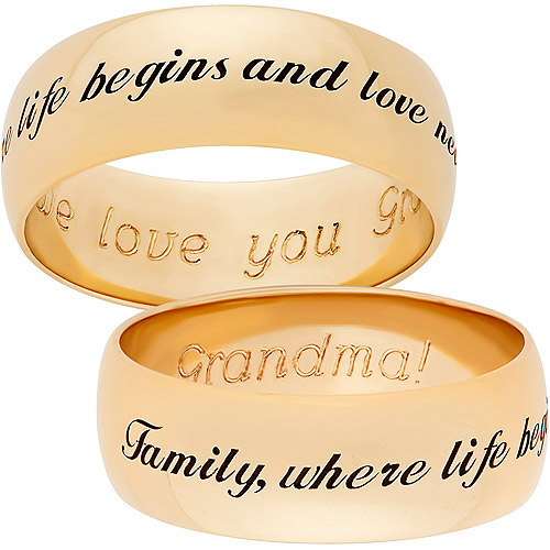 Personalized Gold over Sterling Silver Sweet Sentiments Family Band