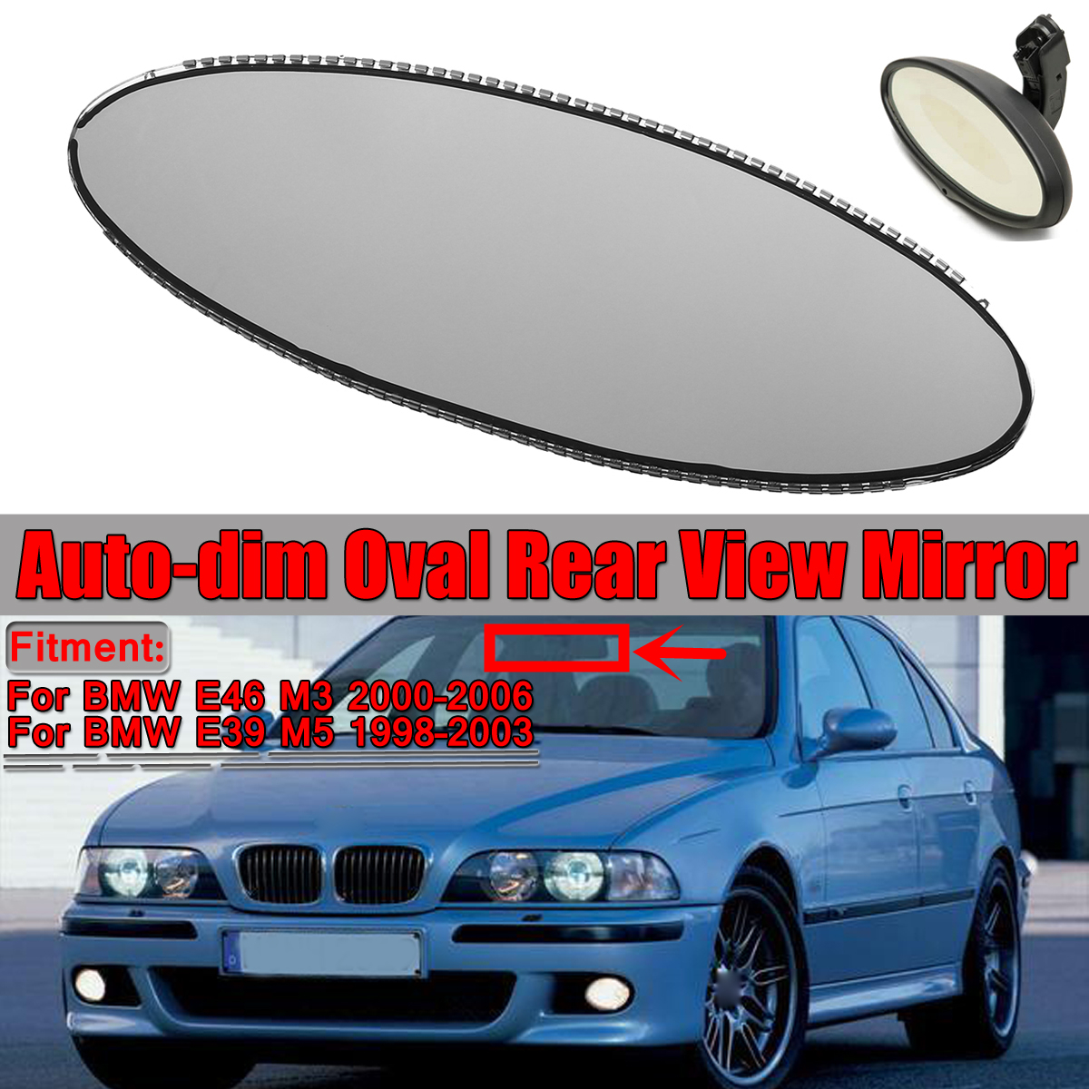 BMW E39 M5 Oval Auto Dim Auto-Dimming Rearview mirror Replacement Glass unit