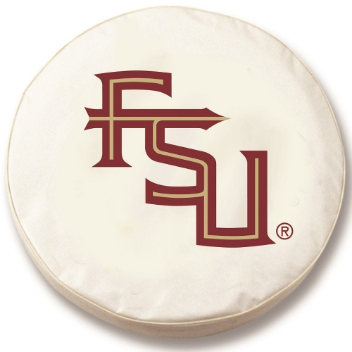 NCAA Tire Cover by Holland Bar Stool - Florida State Script, White - 24 x 8 Inches