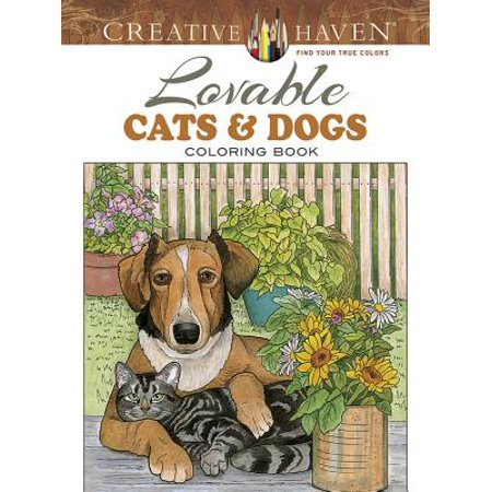 Creative Haven Lovable Cats and Dogs Coloring - Cat In The Hat Halloween Coloring Pages