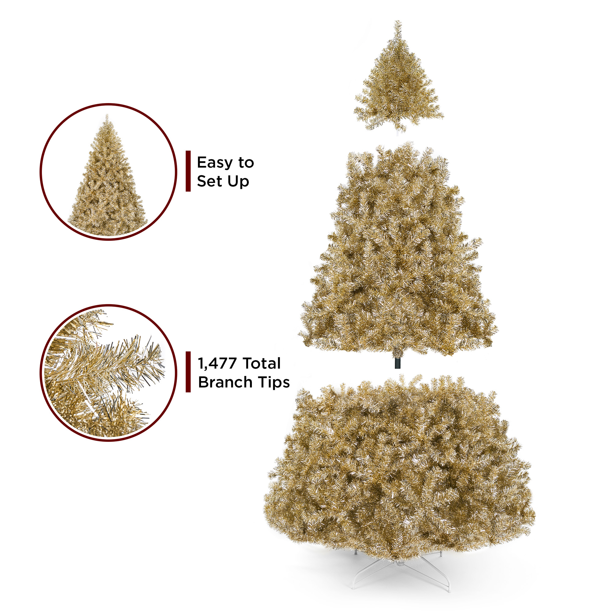 Best Choice Products 6ft Artificial Tinsel Christmas Tree W 1 477 Branch Tips Champagne Gold Walmart Com Walmart Com