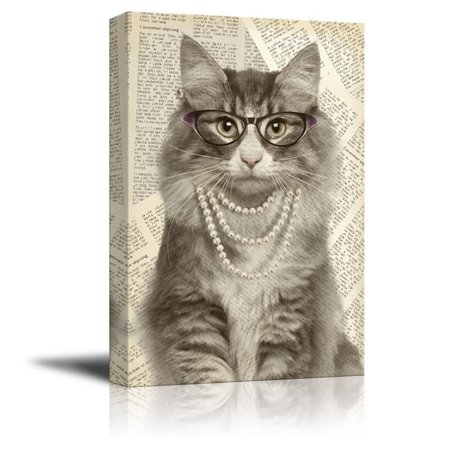 wall26 Creative Animal Figure on Vintage Paper Canvas Wall Art - Lady Cat Wearing Glasses Pearl Necklace - Giclee Print Gallery Wrap Modern Home Decor Ready to Hang - 24x36 inches Animal Art Vintage Animal