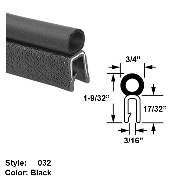 "Water and Weather Resistant Hollow Foam Rubber Push-On Seal with Bulb on Top, Style 032 - Ht. 1-9/32"" x Wd. 3/4"" - Black - 10 ft long"