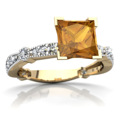 Citrine Milgrain Antique Style Ring in 14K Yellow Gold by