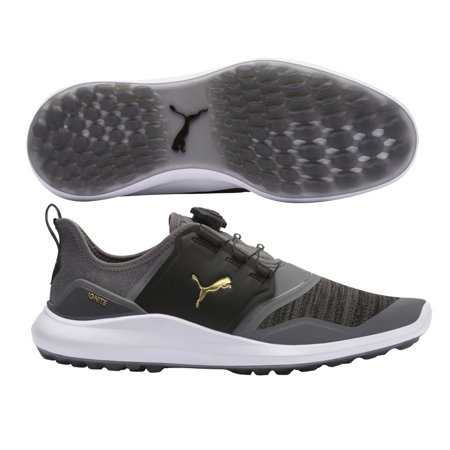 NEW Puma Ignite NXT Disc Quiet Shade Grey/Gold/Black Golf Shoes Mens Size