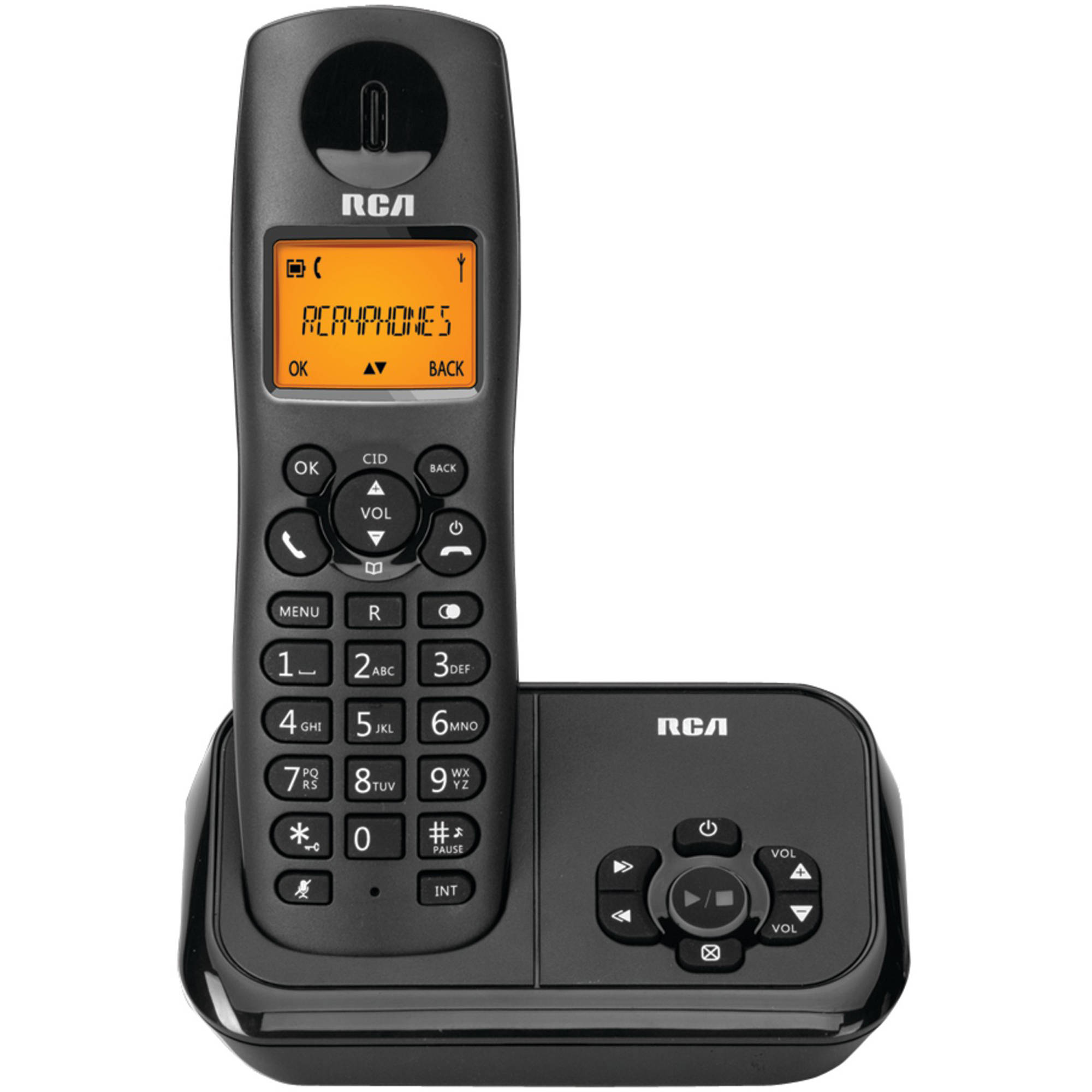 RCA 2162-1BKGA Element Series DECT 6.0 Cordless Phone with Caller ID and Digital Answering System 1-Handset System