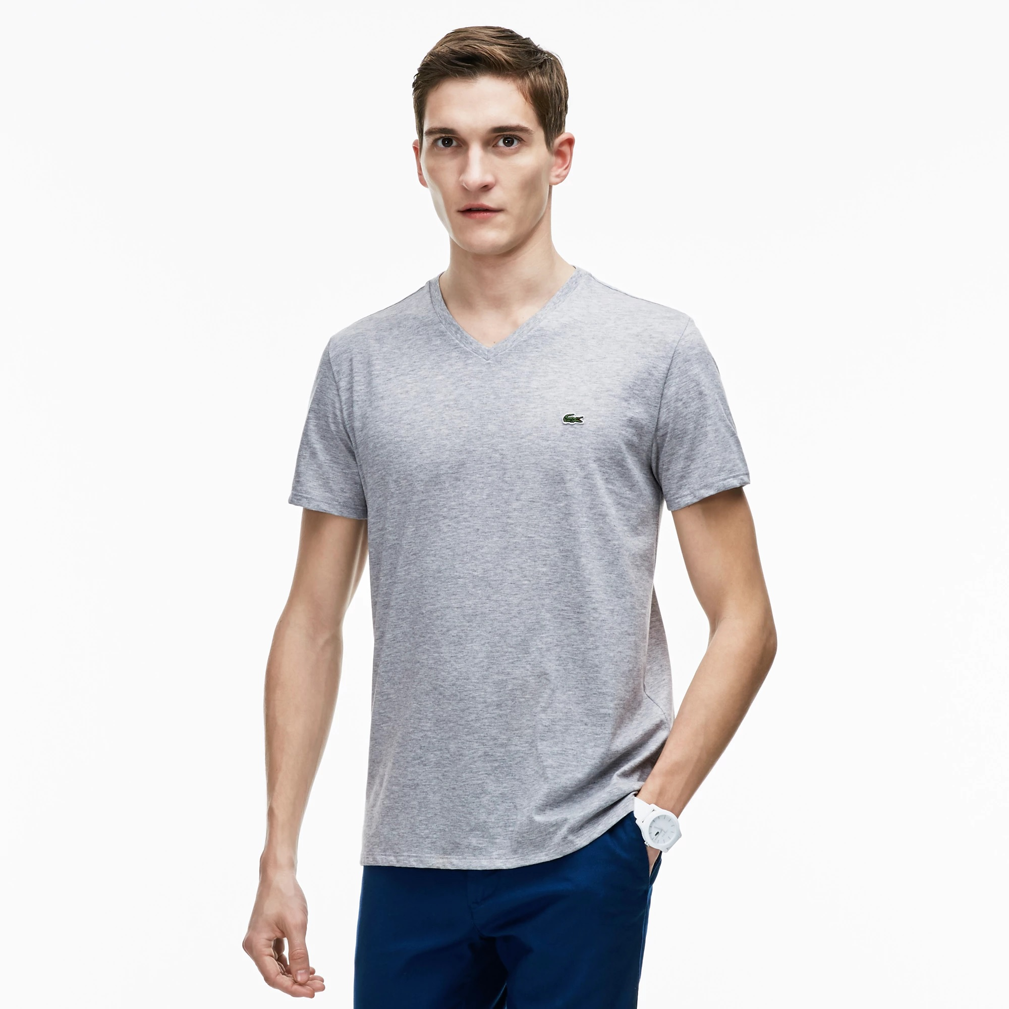 Lacoste Men's V-neck Pima Cotton Jersey T-shirt Silver Ch...