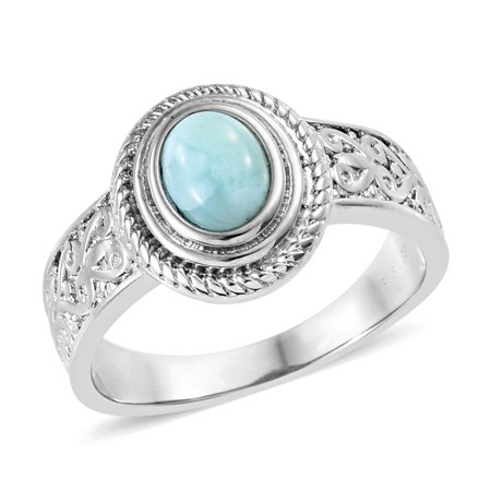 Solitaire Ring Stainless Steel Oval Green Larimar Gift Jewelry for Women Size 7