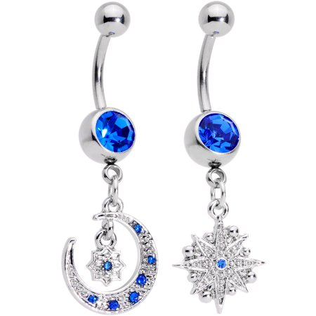 Body Candy 2PC 14G Steel Navel Ring Piercing Blue Accent Crescent Moon Star Dangle Belly Button Ring Set Star Belly Button