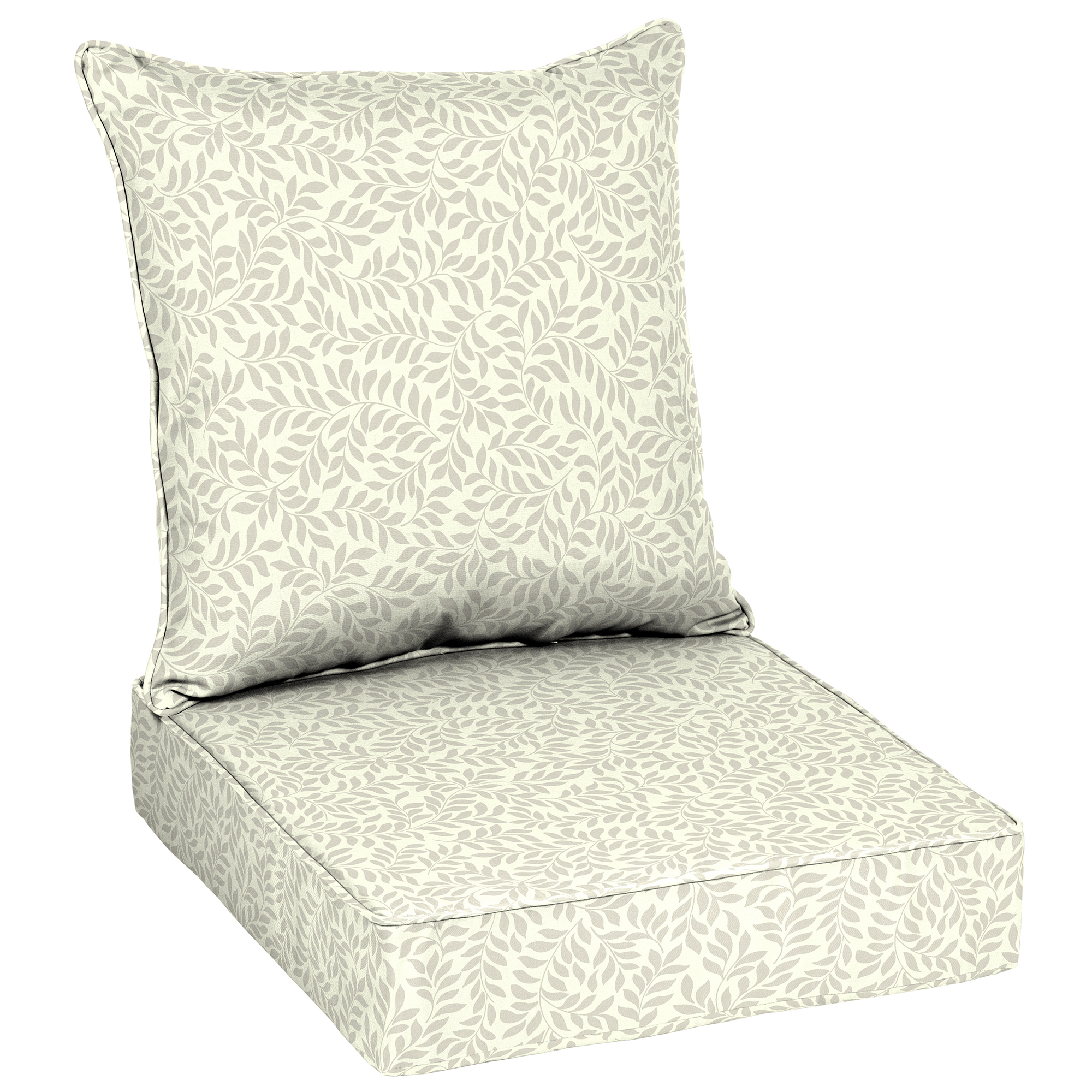 """Better Homes & Gardens Ivory Leaf 48""""L x 24""""W Outdoor Deep Seating Cushion Set"""