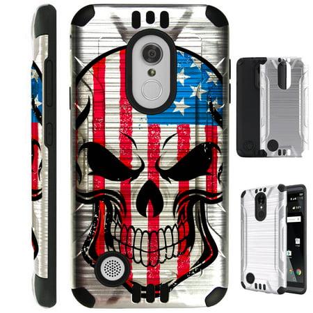 For LG Aristo 2 / LG Tribute Dynasty / LG K8 (2018) / LG Fortune 2 / LG Zone 4 (2018) Case Brushed Metal Texture Hybrid TPU Silver Guard Phone Cover (US Flag Skull) - Phones 4 U Halloween