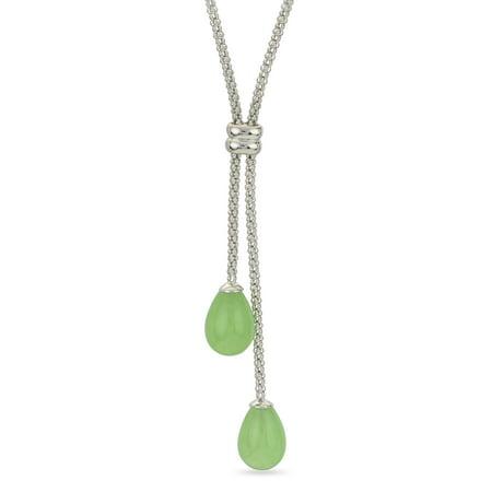 "Gems For You 16.5"" Sterling Silver Jade Teardrop Lariat Necklace"