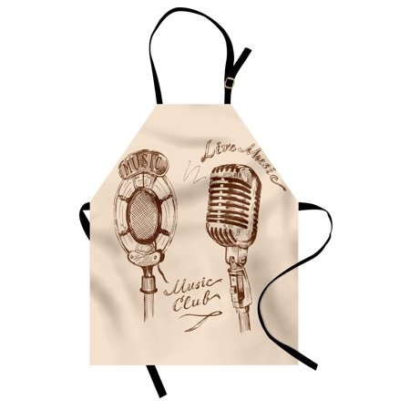 Old Fashioned Microphone Prop (Music Apron Old Fashioned Doodles with Waves and Vintage Microphone Print Retro Style Boho Print, Unisex Kitchen Bib Apron with Adjustable Neck for Cooking Baking Gardening, Brown Ecru, by)