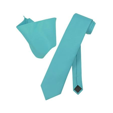 Uv Resistant Ties (Vesuvio Napoli EXTRA LONG TURQUOISE AQUA BLUE NeckTie Handkerchief Neck Tie)