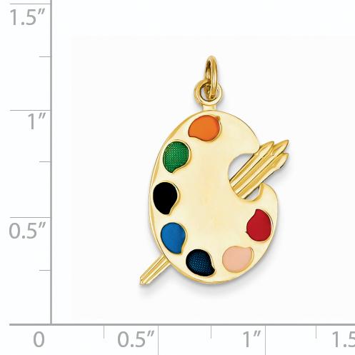 14K Yellow Gold Enameled Artist Palette Charm - image 1 of 2