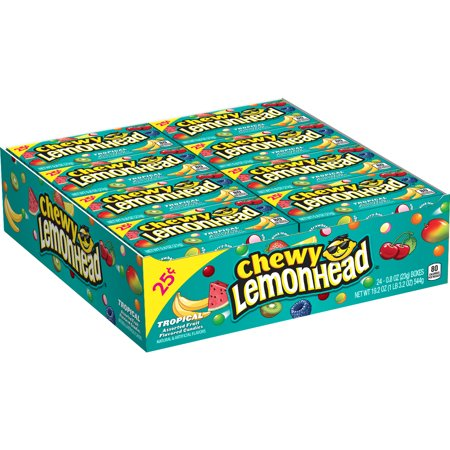 Lemonhead, Tropical Chewy Candy Flavor, 0.8oz (Box of 24)