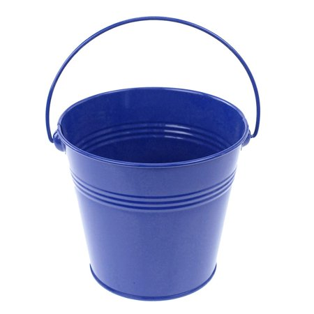 Metal Pail Bucket Party Favor, 5-Inch, Royal Blue - Colored Metal Buckets