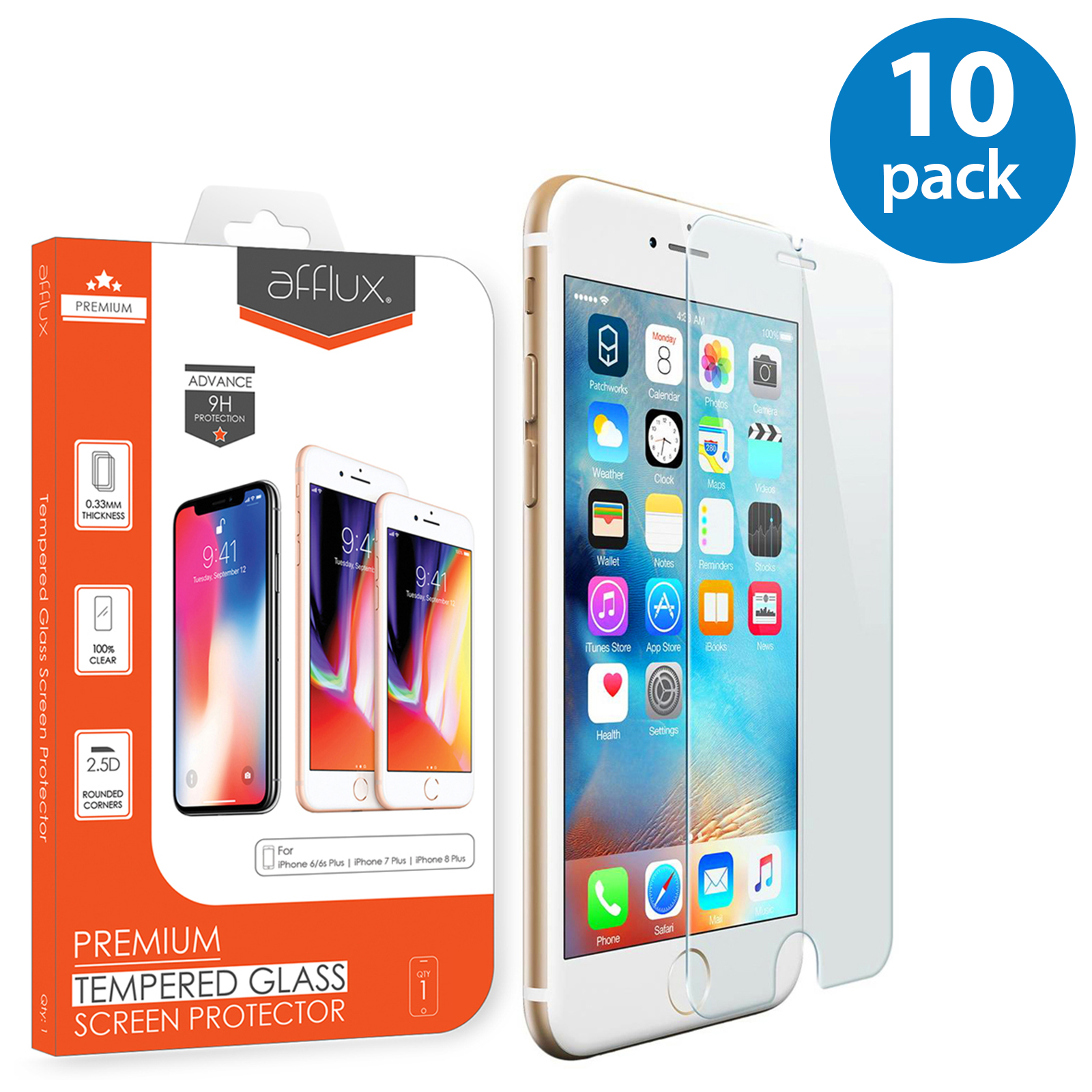 10x Afflux Apple iPhone 8 Plus Tempered Glass Screen Protector Film Guard Case Friendly For iPhone 8 Plus