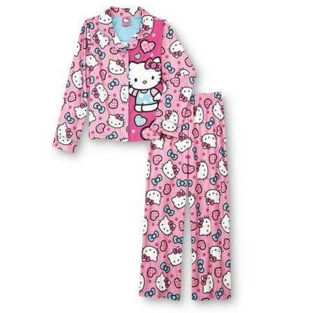 8587b6851 Hello Kitty - Hello Kitty Girls Pink Print Flannel Pajama Set PJs Sleepwear  - Walmart.com
