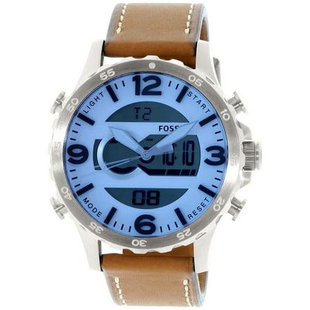 Fossil Mens JR1492 Brown Leather Quartz Fashion Watch Walmartcom