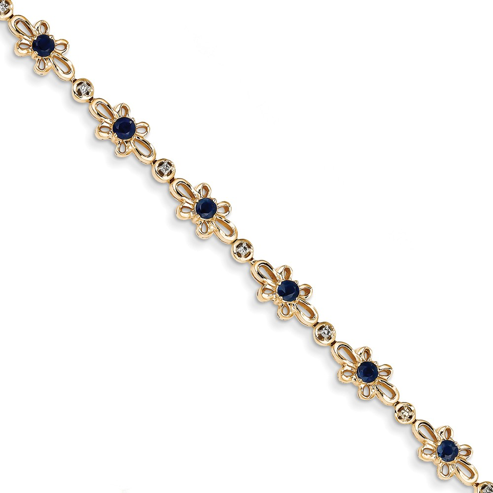 14k Yellow Gold Diamond & Sapphire Flower Bracelet