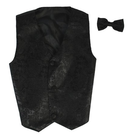 Boys Black Paisley Poly Silk Vest Bowtie Special Occasion Set 8/10