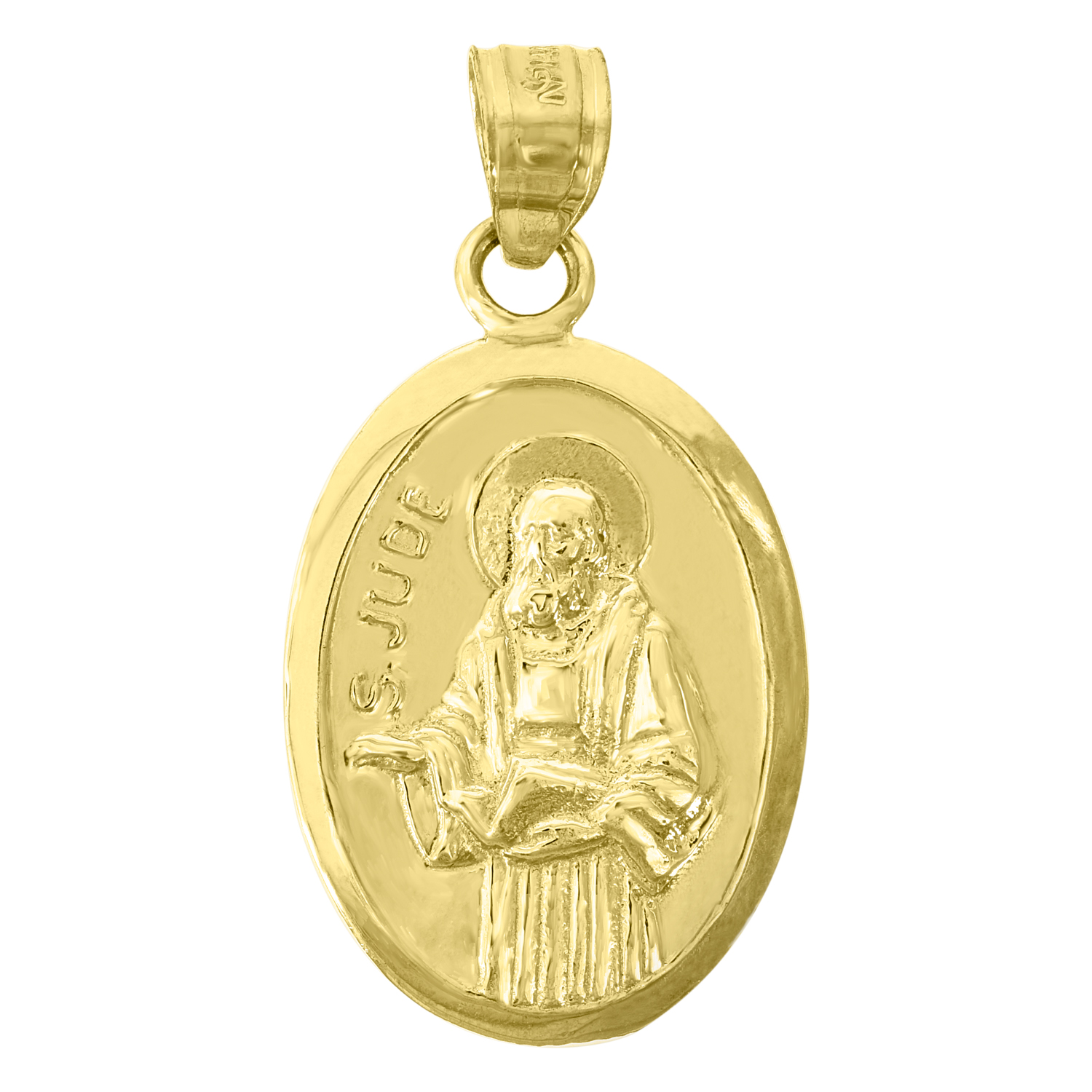 Saris and Things 14K Yellow Gold Womens 12 mm Round Polished Sacred Heart of Mary Medal