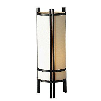 24 tall steel table lamp linen shade japanese style for Table decor international inc