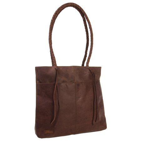 AllAsta Leather Lexington Tote Purse Large Handbag For Women With Strap Brown (Womens Dark Brown Handbag)