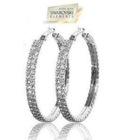 Swarovski Crystal Hoop Earrings in Silver, Gift-Boxed