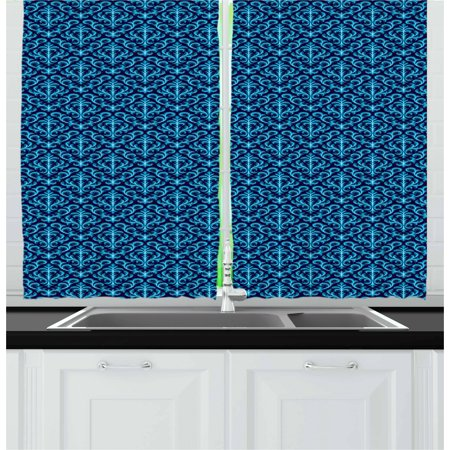 Damask Curtains 2 Panels Set, Floral Ornament Various Geometrical Shapes Curved Lines Vibrant Color Palette, Window Drapes for Living Room Bedroom, 55W X 39L Inches, Indigo Sky Blue, by Ambesonne