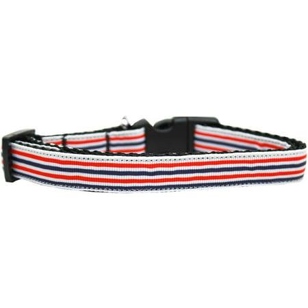 Patriotic Strips - Patriotic Stripes Nylon Ribbon Dog Collar Medium Narrow