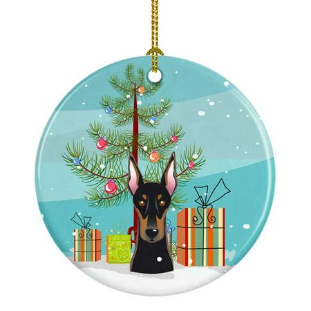 - Christmas Tree and Doberman Ceramic Ornament