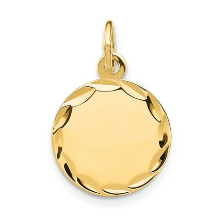 14K White Gold Etched .013 Gauge Engraveable Round Disc Charm - image 1 de 3