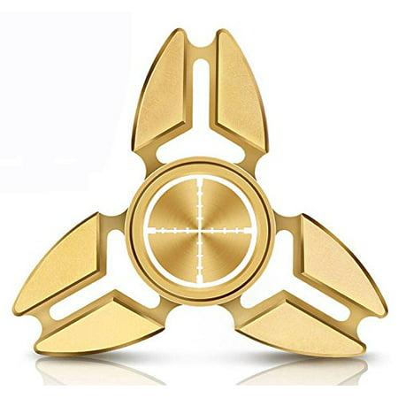 Fidget Spinner Tri-Spinner Gold Aluminum Metal Crosshairs Sniper Spy Gamer Laser Tag (Best Paintball Sniper Setup)
