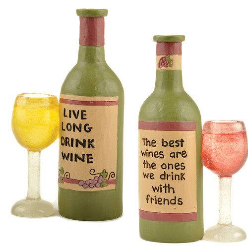 Blossom Bucket 2 Piece Wine Bottle With Glasses Sculpture Set