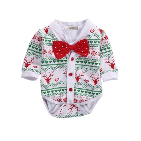 StylesILove Infant Baby Boy Jumpsuit with Red Bowtie and Holiday Character Onesie Cardigan Christmas 2 pcs Outfit Set (100/12-18 Months)