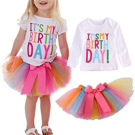 2PCS Toddler Baby Girls Birthday Print T-shirt Tops Tutu Tulle Skirt Outfits Sets 80 - Cupcake Tutu Outfit