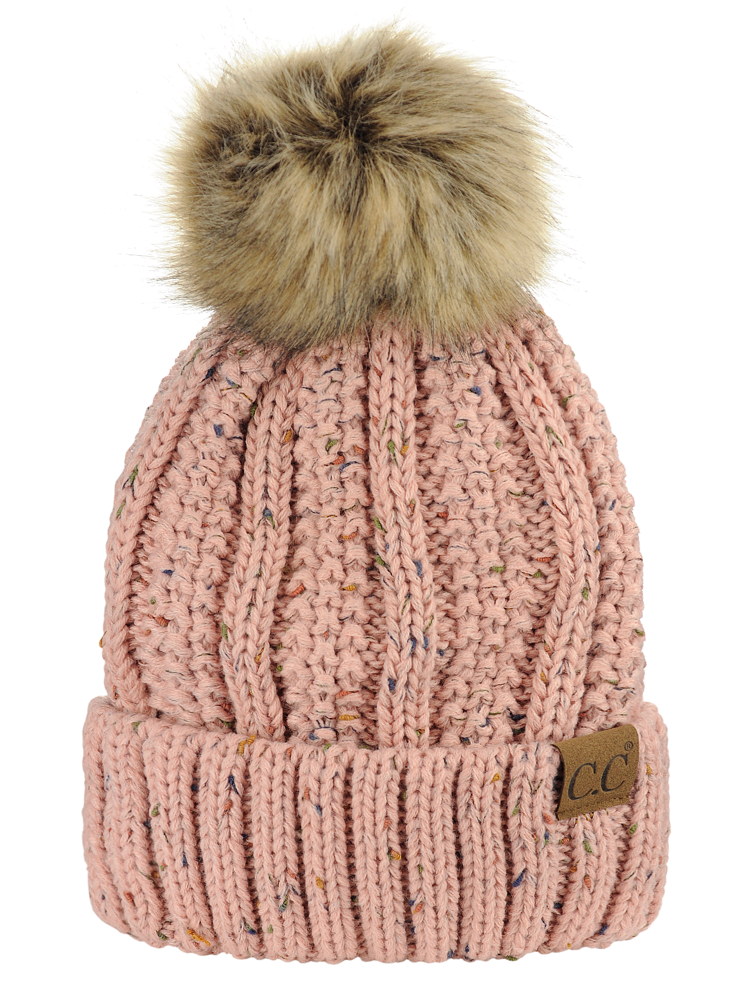 C.C Thick Cable Knit Faux Fuzzy Fur Pom Fleece Lined Skull Cap Cuff Beanie, Confetti Indi Pink