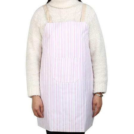 Pink Apron - Household Stripe Pattern Anti-wear Front Patch Pocket Cooking Baking Apron Pink