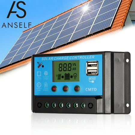 Anself 10A 12.6V LCD Solar Charge Controller PWM Charging Regulator for Solar Panel Lithium Battery Lamp Overload Protection