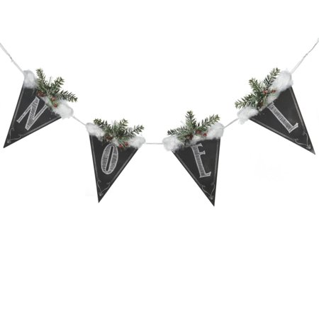 "39"" Black and White Chalkboard Style Snow and Pine Covered ""Noel"" Hanging Christmas Banner"
