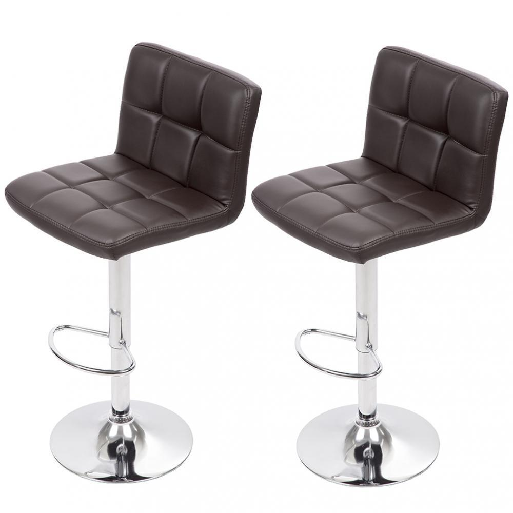 Set of 2 Adjustable Bar Stool Counter Height Chair w/ Backrest Footrest