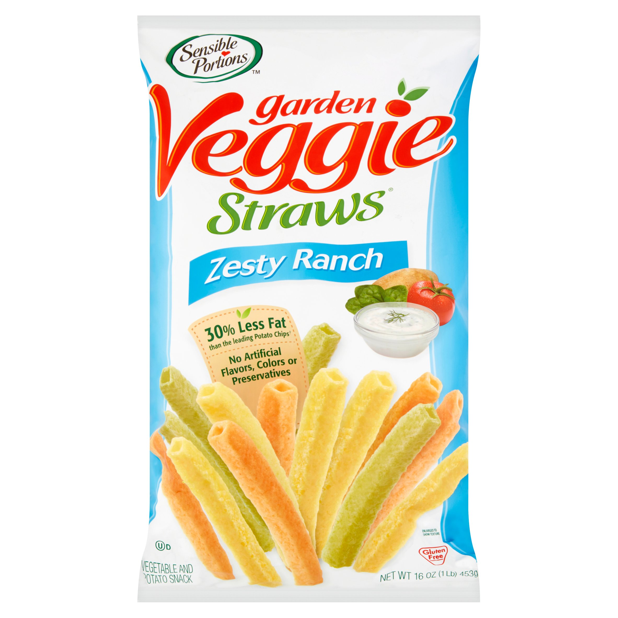 Sensible Portions Zesty Ranch Garden Veggie Straws, 16 oz