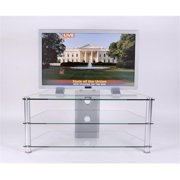 RTA Home and Office TVM-020 42 in. Below Plasma TV Stand Clear Tempered Glass with Wire Management